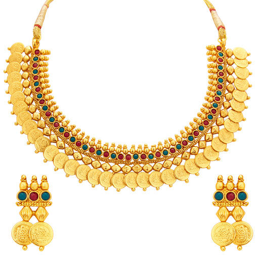 Sukkhi Exquitely Laxmi Temple Coin Gold Plated Necklace Set For Women
