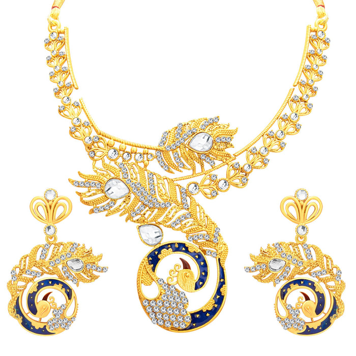 Sukkhi Attractive Peacock Gold Plated AD Necklace Set For Women