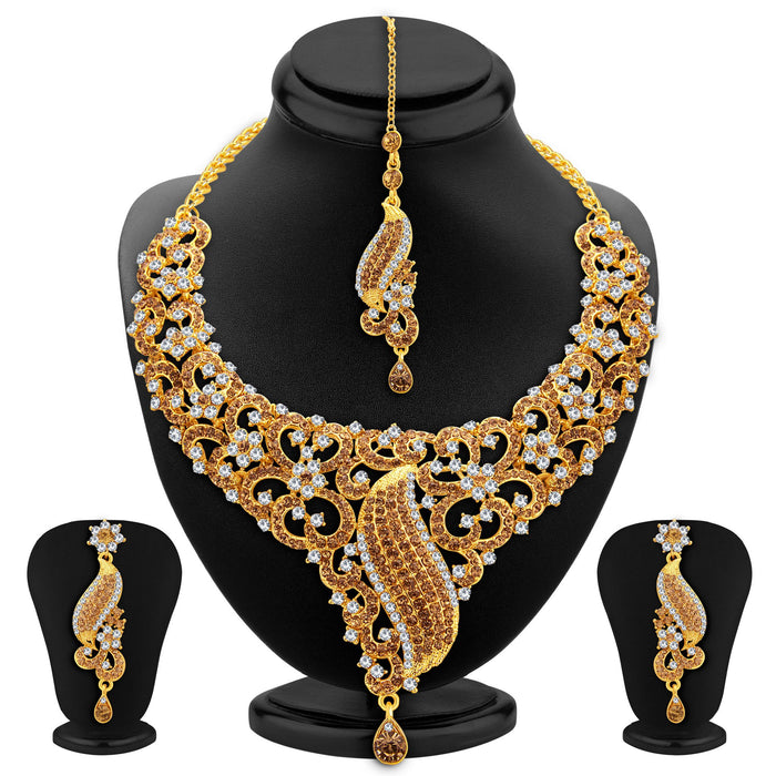 Sukkhi Astonishing LCT Stone Gold Plated AD Necklace Set For Women