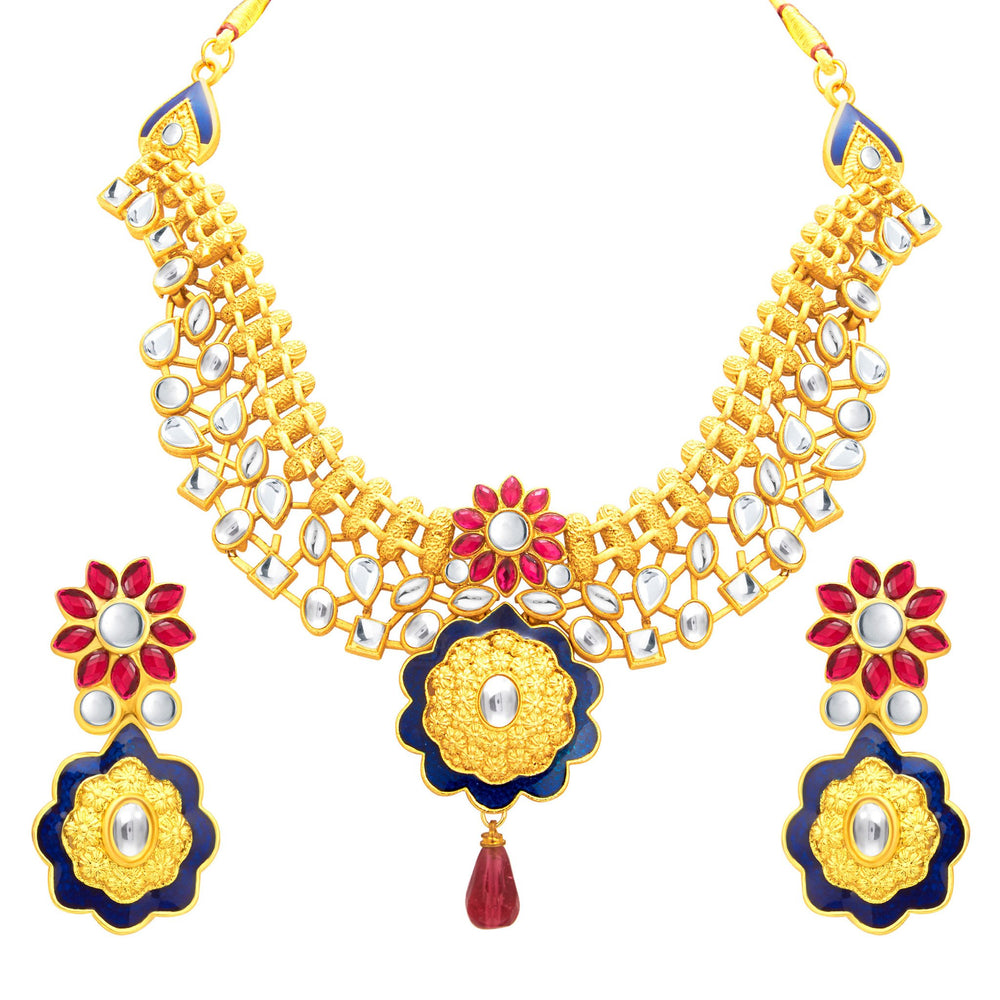 Sukkhi Brilliant Gold Plated Kundan Necklace Set For Women