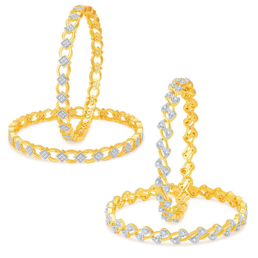 Sukkhi Modish Gold Plated CZ Set of 2 Pair Bangle Combo For Women