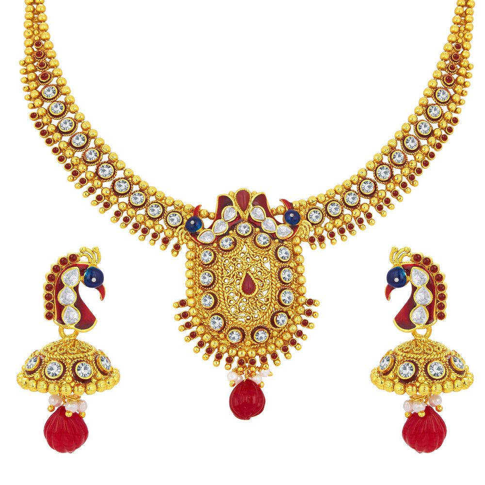 Sukkhi Dazzling Peacock Gold Plated AD Necklace Set For Women