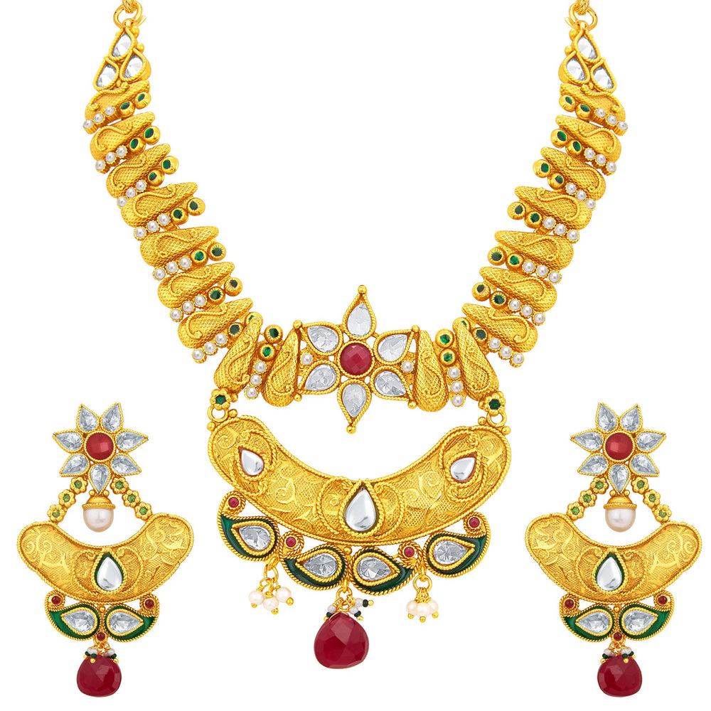 Sukkhi Alluring Gold Plated Necklace Set For Women