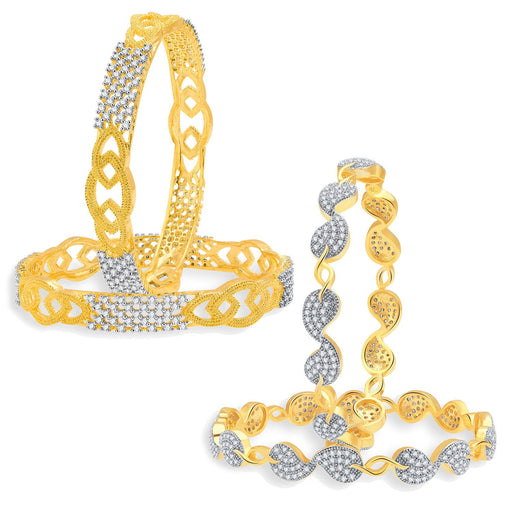 Sukkhi Graceful Gold Plated CZ Set of 2 Pair Bangle Combo For Women