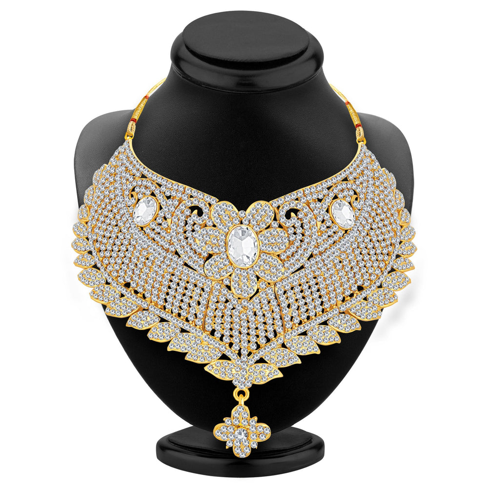 Sukkhi Ethnic Gold Plated AD Necklace Set For Women-2