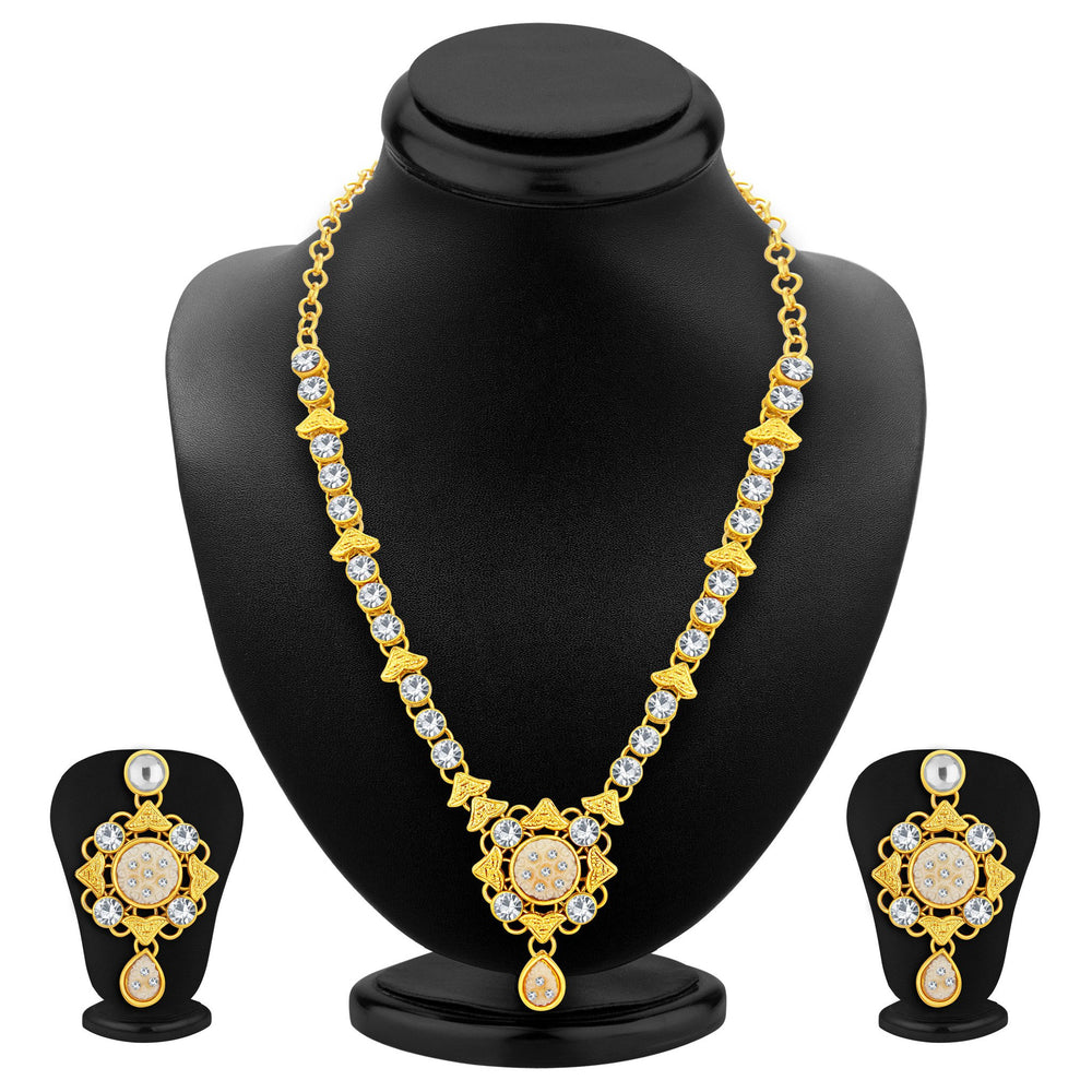 Sukkhi Excellent Gold Plated AD Necklace Set For Women