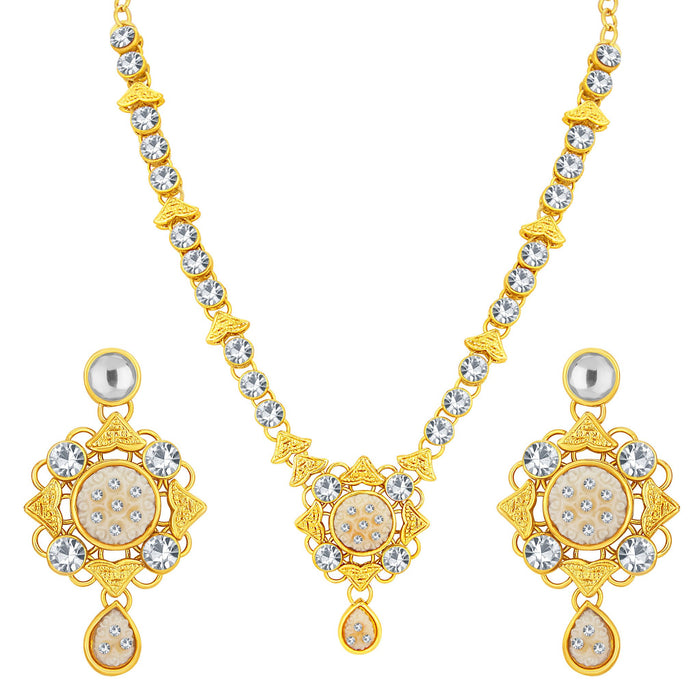 Sukkhi Excellent Gold Plated AD Necklace Set For Women-1