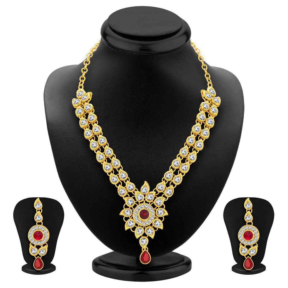 Sukkhi Exquisite Gold Plated AD Necklace Set For Women