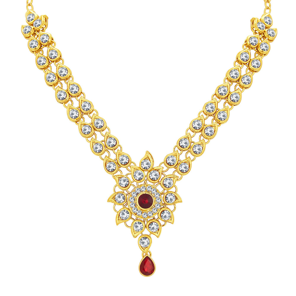Sukkhi Exquisite Gold Plated AD Necklace Set For Women-3