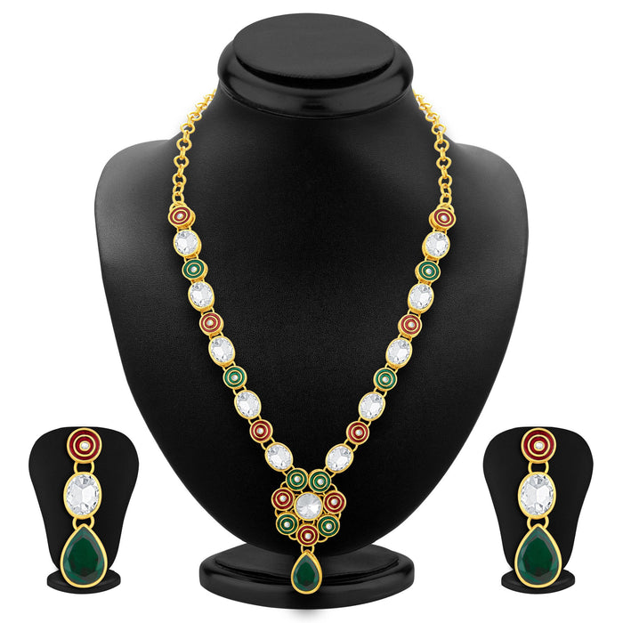 Sukkhi Alluring Gold Plated AD Necklace Set For Women