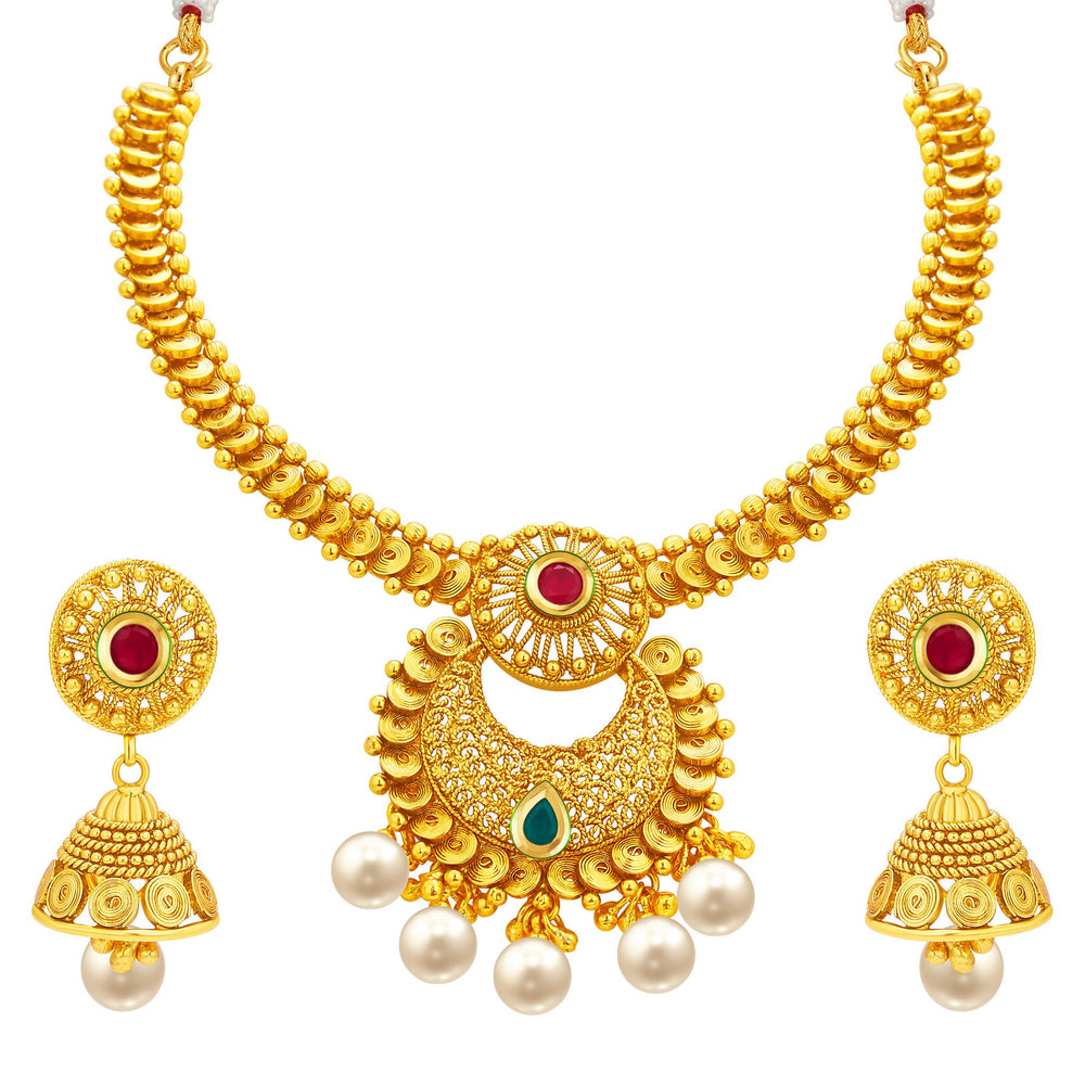 Sukkhi Classy Jalebi Gold Plated Necklace Set For Women
