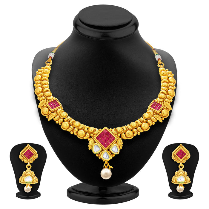 Sukkhi Exotic Invisible Setting Gold Plated American Diamond Necklace Set For Women-1