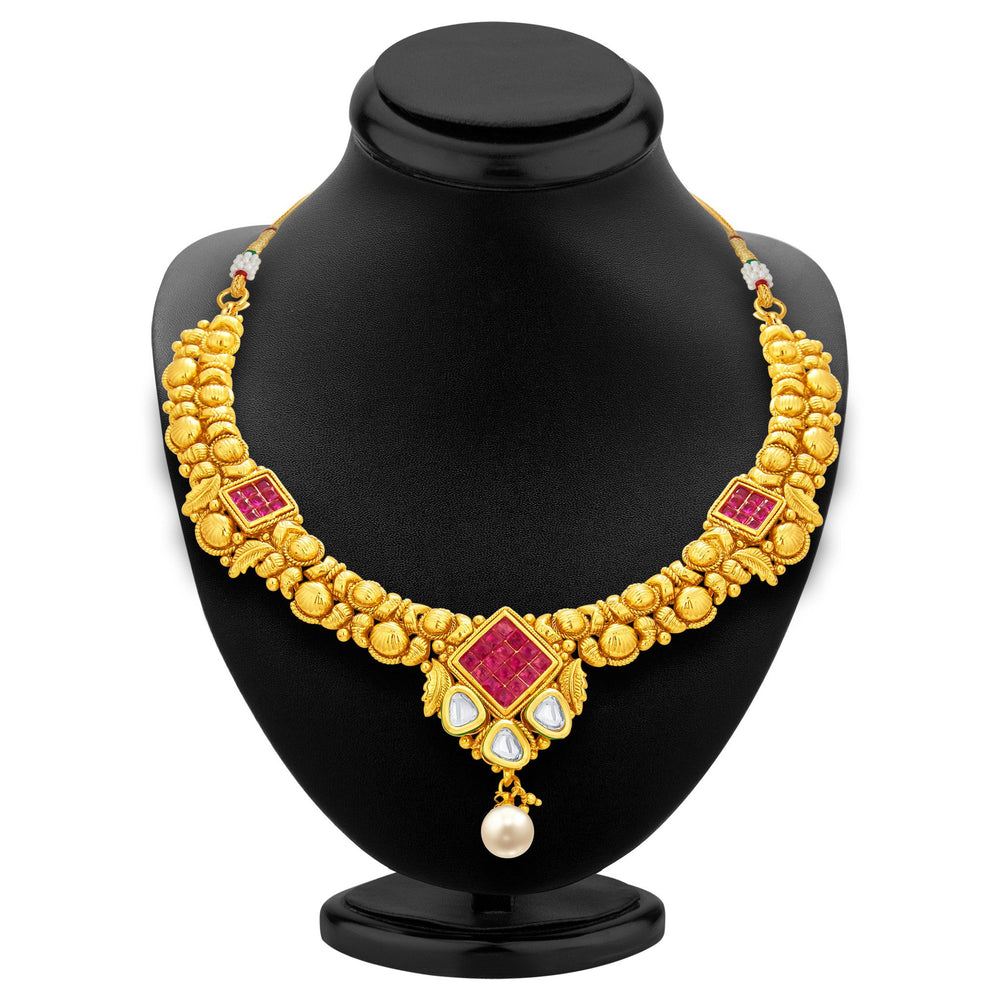 Sukkhi Exotic Invisible Setting Gold Plated American Diamond Necklace Set For Women-3