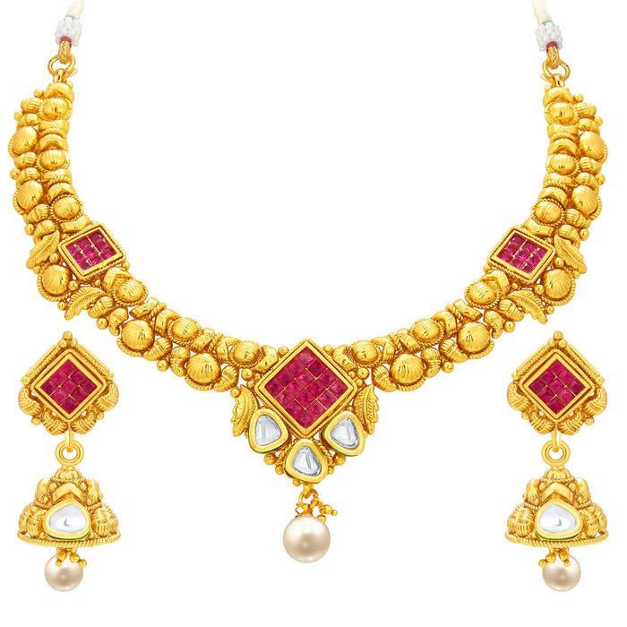 Sukkhi Exotic Invisible Setting Gold Plated American Diamond Necklace Set For Women