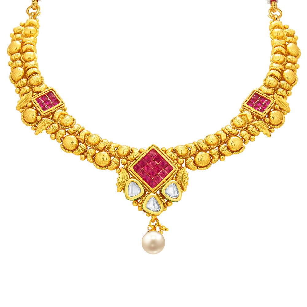 Sukkhi Exotic Invisible Setting Gold Plated American Diamond Necklace Set For Women-2