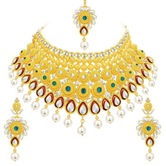 Sukkhi Exotic Gold Plated Kundan Necklace Set For Women-1