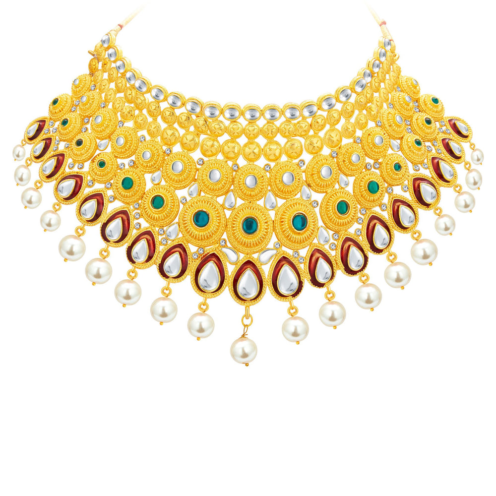 Sukkhi Exotic Gold Plated Kundan Necklace Set For Women-3