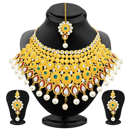 Sukkhi Exotic Gold Plated Kundan Necklace Set For Women