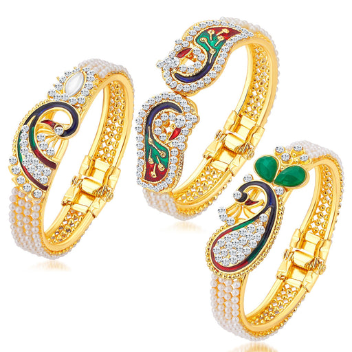 Sukkhi Excellent Gold Plated AD Set of 3 Kada Combo For Women