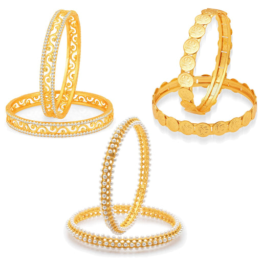 Sukkhi Angelic Laxmi Temple Coin Gold Plated AD Set of 3 Pair Bangle Combo For Women - 2.4