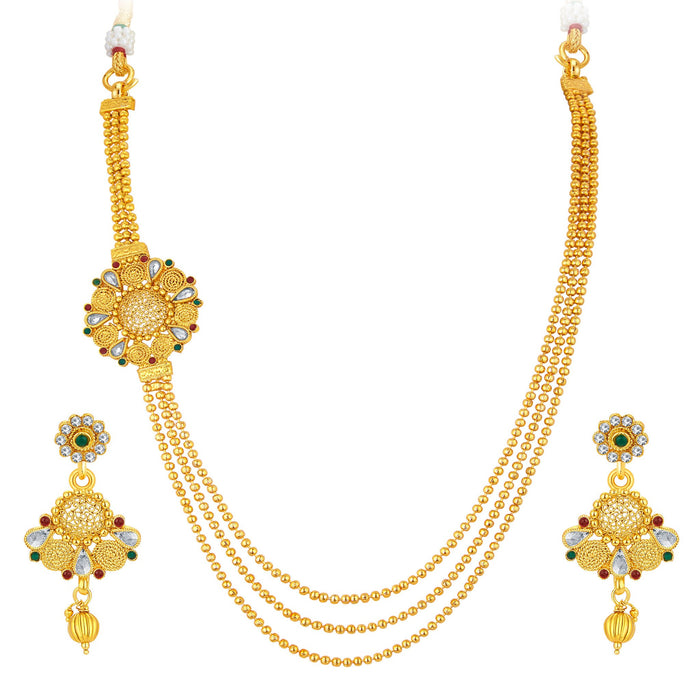 Sukkhi Alluring Three String Jalebi Gold Plated Necklace Set For Women
