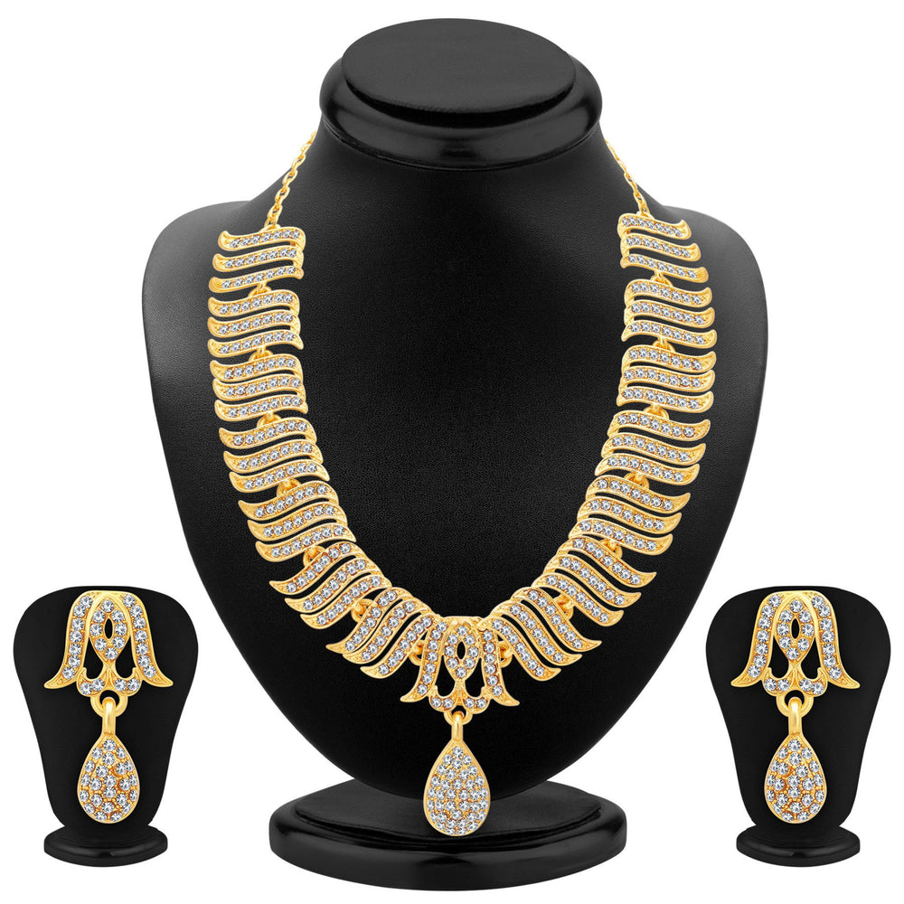 Sukkhi Ethnic Gold Plated Set Of 2 AD Necklace Set Combo For Women-4
