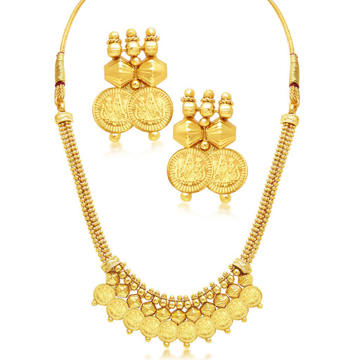 Sukkhi Incredible Laxmi Coin Temple Gold Plated Necklace Set For Women