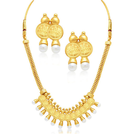 Sukkhi Modish Laxmi Coin Temple Gold Plated Necklace Set For Women