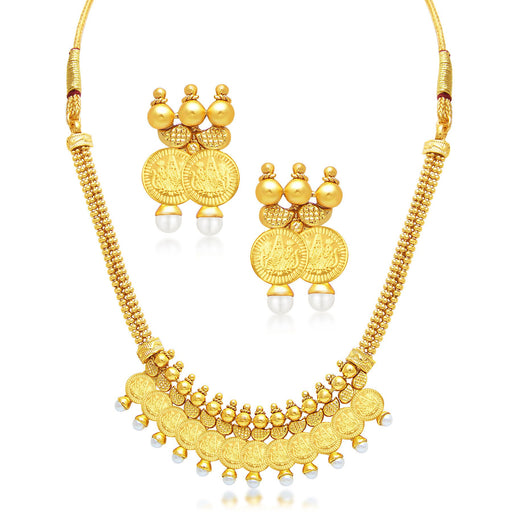 Sukkhi Marvellous Laxmi Coin Temple Gold Plated Necklace Set For Women