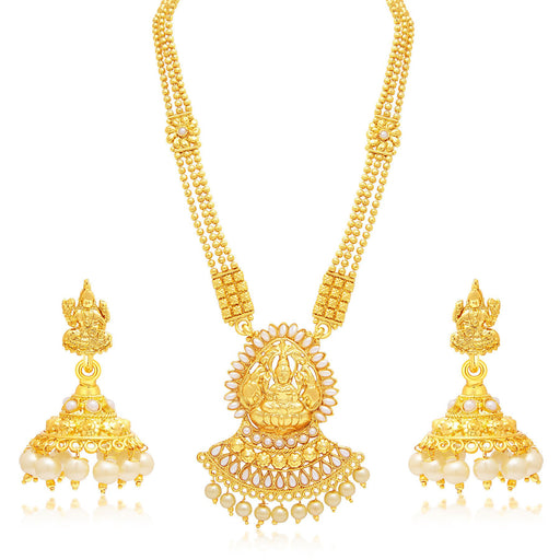 Sukkhi Marquise Laxmi Temple Gold Plated Necklace Set For Women