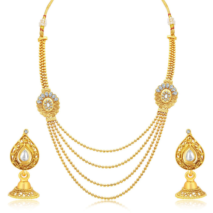 Sukkhi Cluster Four String Gold Plated AD Necklace Set For Women