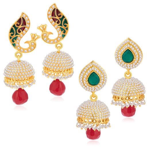 Sukkhi Ethnic Peacock Jhumki Gold Plated Set Of 2 Pair Earring Combo For Women