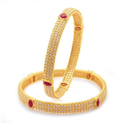 Sukkhi Delightful Gold Plated Moti Bangles for Women