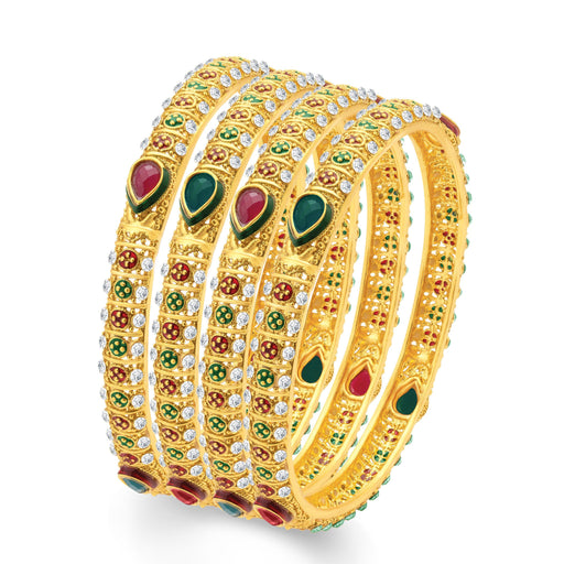 Sukkhi Sublime Gold Plated Traditional Set of 4 Bangles for Women