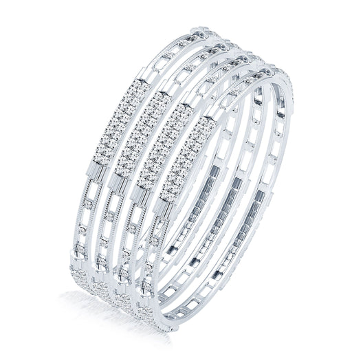 Sukkhi Splendid Rhodium Plated AD Set of 4 Bangles