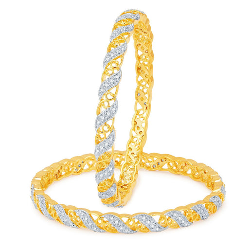 Sukkhi Divine Gold and Rhodium Plated CZ Bangles