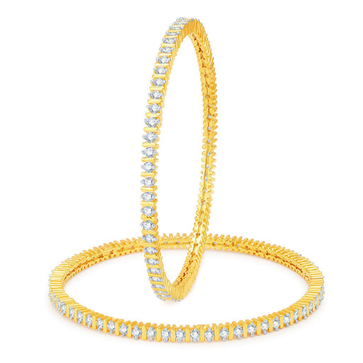 Sukkhi Designer Gold and Rhodium Plated CZ Bangles