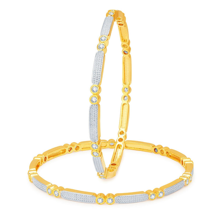 Sukkhi Fashionable Gold and Rhodium Plated CZ Bangles