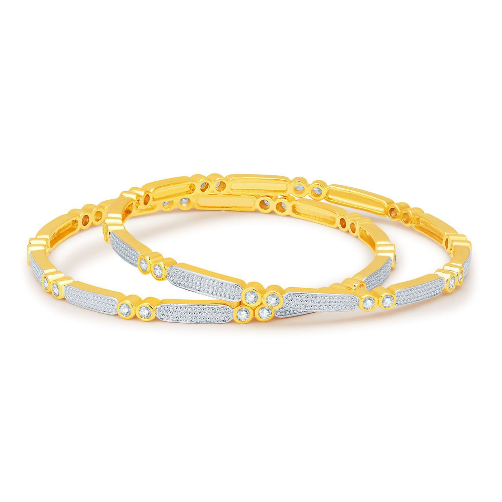 Sukkhi Fashionable Gold and Rhodium Plated CZ Bangles-1