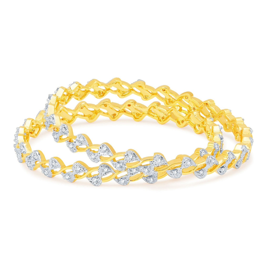 Sukkhi Cluster Gold and Rhodium Plated CZ Bangles-1