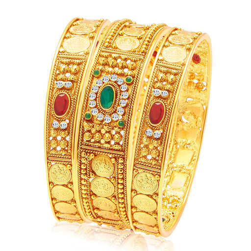 Sukkhi Fascinating Temple Jewellery Gold Plated Coin Bangle For Women