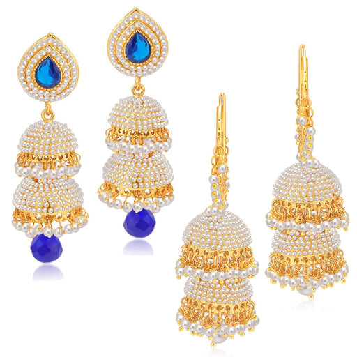 Sukkhi Charming Jhumki Gold Plated Set of 2 Pair Earring Combo For Women