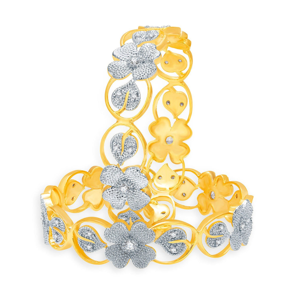 Sukkhi Clssical Gold And Rhodium Plated CZ Bangles For Women