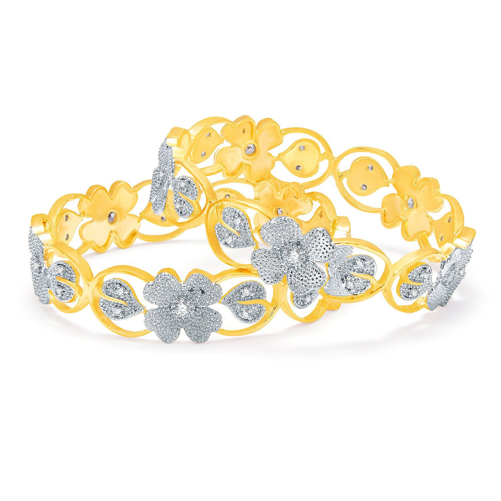 Sukkhi Clssical Gold And Rhodium Plated CZ Bangles For Women-1