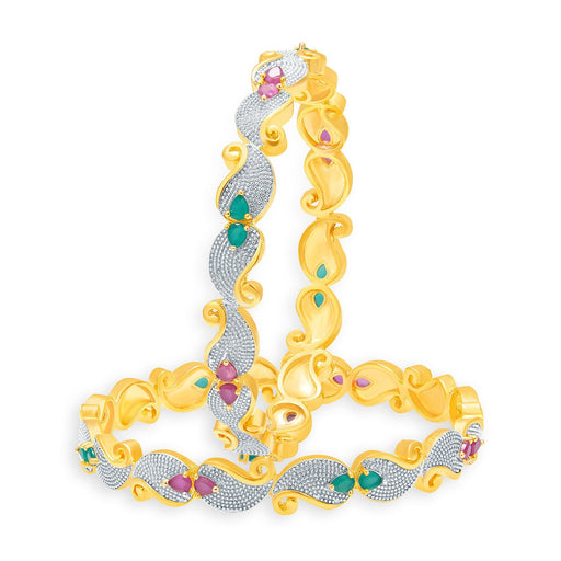 Sukkhi Fascinating Gold And Rhodium Plated Ruby CZ Bangles For Women
