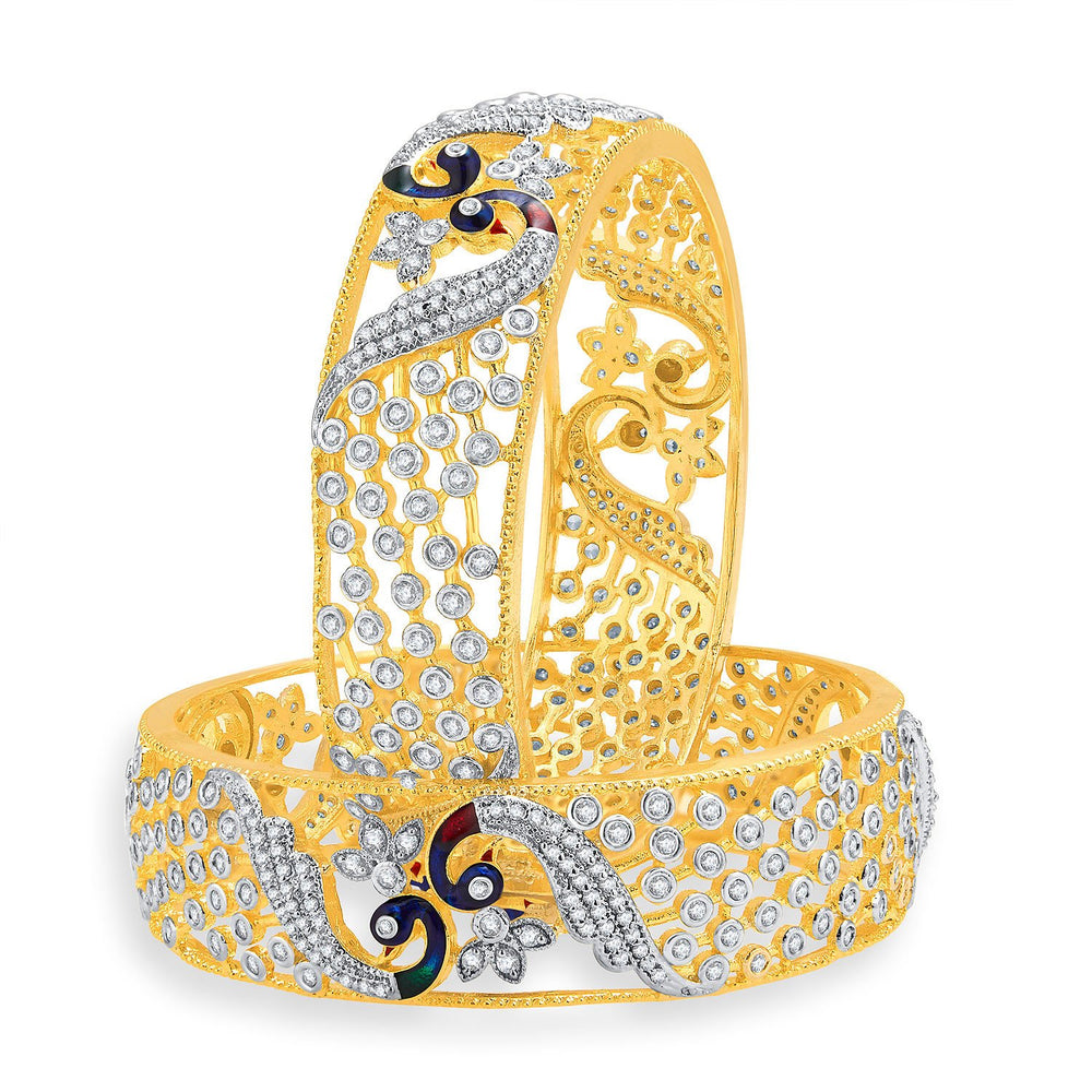 Sukkhi Excellent Peacock Gold And Rhodium Plated CZ Bangles For Women