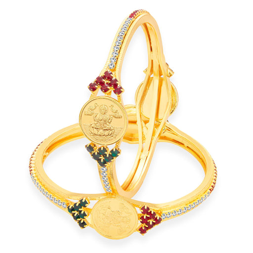 Sukkhi Delightly Laxmi Coin Temple Gold Plated AD Bangle For Women