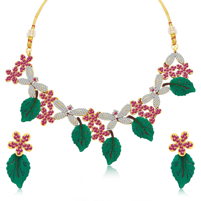 Sukkhi Classic Leaf Hand Painted Gold Plated AD Necklace Set For Women