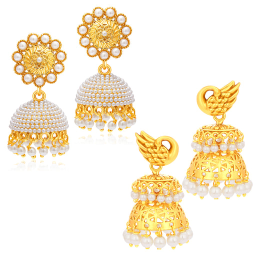 Sukkhi Royal Peacock Jhumki Gold Plated Set Of 2 Pair Earring Combo For Women