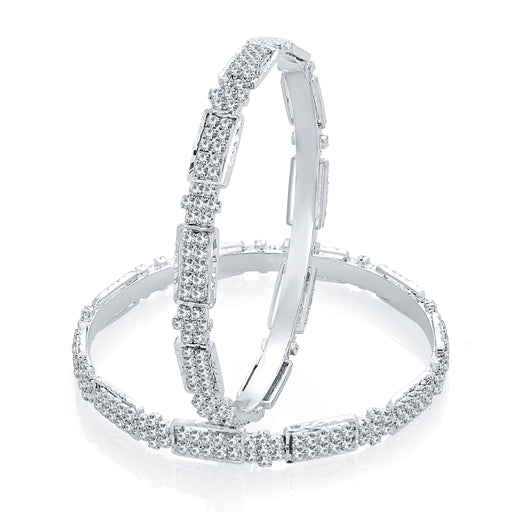 Sukkhi Blossomy Rhodium Plated AD Bangle For Women